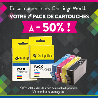 1 pack acheté, le 2ème a moitié prix - Cartridge World Nevers